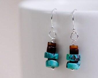 Turquoise Earrings Hubei Heishi, dark pen shell, sterling silver components