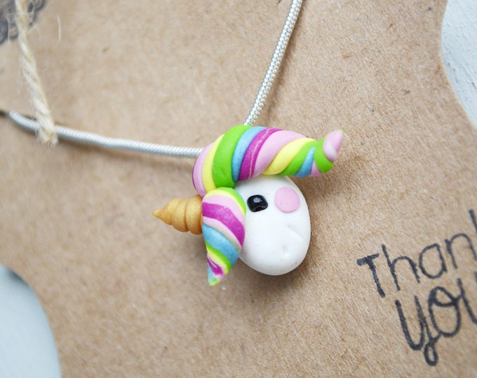 Good luck unicorn necklace,handmade unicorn necklace,cute handmade gift,graduation gift, birthday gift,girly necklace,gift for girl daughter