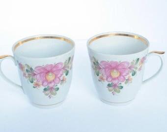 Set of 2 pcs Vintage tea cup Retro porcelain tea set Soviet porcelain tableware Vintage porcelain tea set USSR home decor