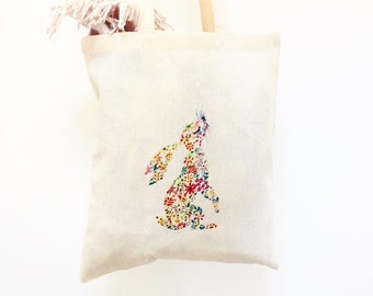 Floral Rabbit Tote Bag, Printed Hare Tote Bag, Hare shoppers bag, Easter Bag, Birthday gift, Easter gift, Hare Spring bag, gift for her.