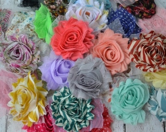 "LOWEST PRICE ever! Sale & Clearance 2.5"" shabby chic chiffon flowers prints and solids grab bag for DIY and Headbands"