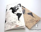 Midori Insert World Map Travelers Notebook Regular A5 Wide B6 Personal A6 Pocket Field Notes Passport/Grid Dots Lined/Bullet Journal