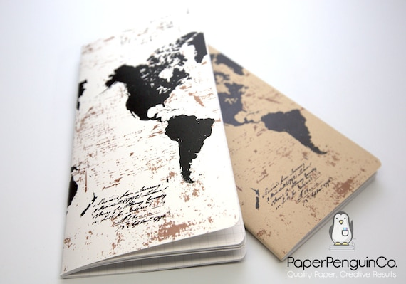 Midori Insert World Map Travelers Notebook Regular A5 Wide B6 Personal A6 Pocket Field Notes Passport/Grid Dots Lined/Bullet Journal