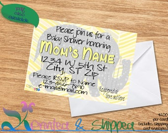 Elephant Silhouette Baby Shower Invitation; Folded Card; Postcard; PDF; E-Card