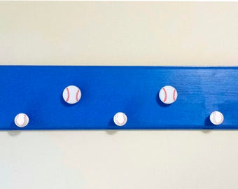 "Coat/Backpack/Hat Rack W/ Baseball Shaped Knobs - Blue ""MLB Chicago Cubs Color"""