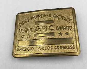 Vintage ABC American Bowling Congress Brass Belt Buckle Most Improved BUY 3 Get 1 FREE