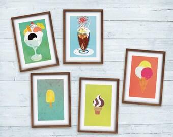 Eis 5 Postkarten Malerei Illustration