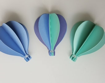 Hot air balloon 3 D wall - small model 7 cm high