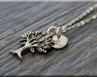 Silver Family Tree Charm Necklace, Initial Charm Necklace, Personalized Jewelry, Tree Pendant, Monogram Family Tree Charm Necklace