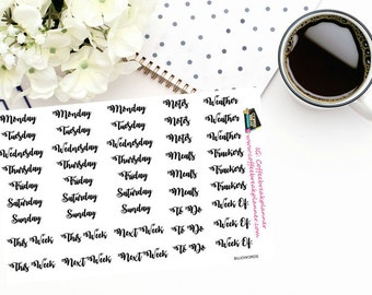 Planner Stickers|Words for your Bullet Journal|Days of the Week Stickers| Task Stickers| Script Words for Your Planner|BujoWords