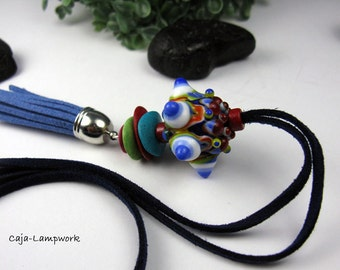 Long, colorful chain and large Lampwork bead