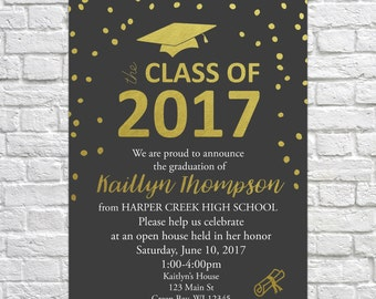Class of 2017, Graduation Open House Invitation, Graduation Announcement, Gold Foil, Graduation Party, High School, College