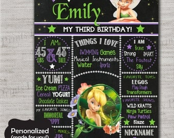 Tinker Bell Birthday Sign,Tinker Bell Chalkboard Printable Sign,Any Size,Personalized birthday sign,Tinker Bell,Birthday party sign,DPP313