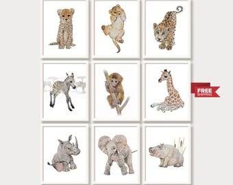 Safari Animal Prints Jungle Nursery Decor Nursery Wall Art Zoo Baby Animal Print Set Watercolor Paintings African Baby Animal Nursery Art
