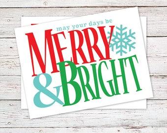 Christmas Card - Merry & Bright Christmas Card - Holiday Card - Greeting Card - Snowflake Christmas Card - Season's Greetings - Xmas Card