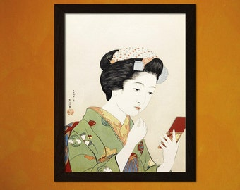 FINE ART REPRODUCTION Japanese Art Print Woman Applying Color to Her Lips 1920 H.Goyo Ukiyo-e Fine Art Print Retro     Design