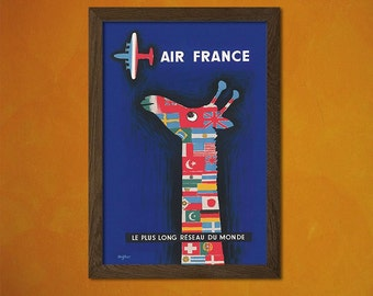 FINE ART REPRODUCTION Air France Poster 1956 Vintage Tourism Travel Poster Advertising Retro    Design