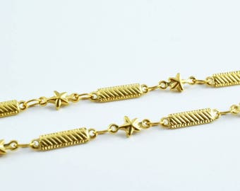 """Gold Filled Bar and Star Chain 18KT Gold Filled Size 16.5"""" Long 4.5mm Width 2mm Thickness Item #CG17"""