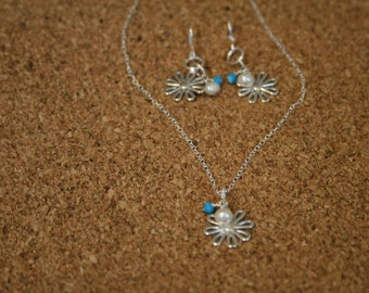 Sterling Silver Flowers, Fresh Water Pearl and Turquois  Necklace and Earrings