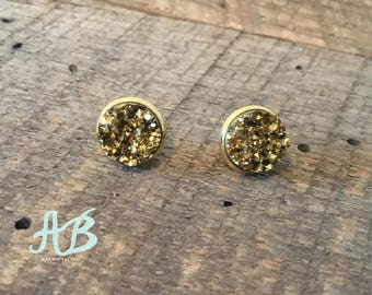Druzy Earrings = Gold