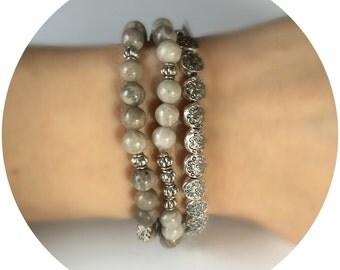 6 mm Beaded bracelet, flower stone bracelet, gray natural bracelet, stone silver bracelet, stretch bracelet, beaded bracelet women