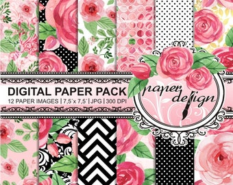Watercolor flower digital paper kit - watercolor digital scrapbooking - paper pack roses watercolor - Shabby Chic-gold pattern #33