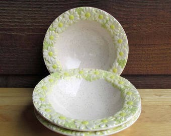 Ceramic Vintage Bowls Set of 3, White and Yellow Daisy Dishes, Vintage Home Decor, Antique Dishes