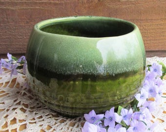 Vintage Green Pottery Planter, Vintage Home Decor