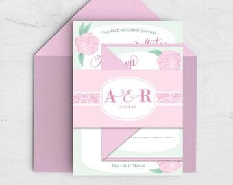 Peonies Wedding Invitation Bundle - Spring Summer Wedding - Pink, Mint Green - Peony - Floral Invitation with RSVP