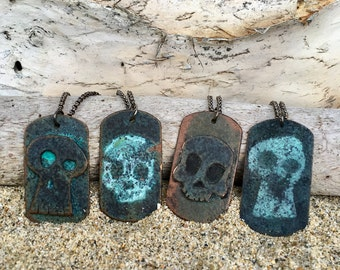 gift for men, Gift, Skull necklace, Dog tag necklace, skull tags, ID tags, mens jewelry, skull dog tags, each sold separately. pirates penda