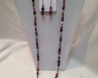 Handmade Vintage Amethyst And Clear  W/ Silvertone Spacers Art Glass Beaded Necklace Set