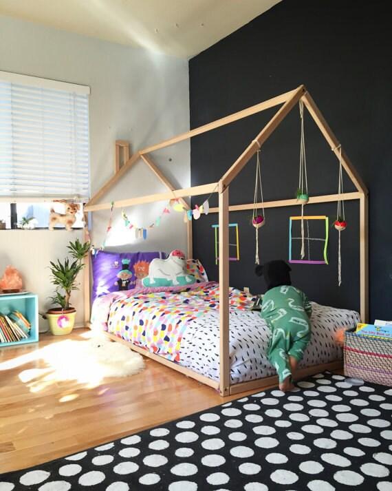 Doppia letto casa di legno montessori letto di for Mobili montessori