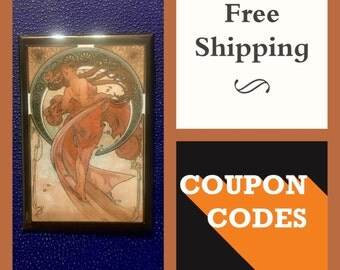 "Mucha ""The Art, Dancing"" Art Nouveau 2x3"" Button Pin or Magnet, FREE SHIPPING  & Coupon Codes"