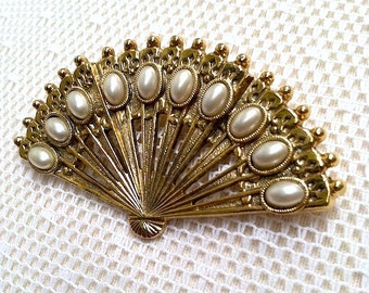 Vintage Fan Brooch with Faux Pearls