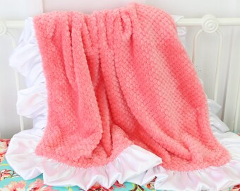 Coral with White Satin Ruffle Minky Baby Girl Blanket | Coral, White, Soft,  Minky Baby Girl Blanket | Stroller Accessery