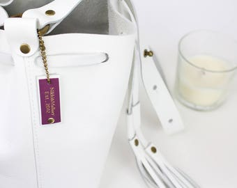 White Leather Bucket, Adjustable Strap