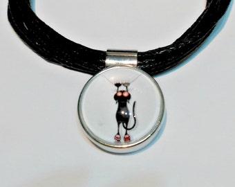 """Snap bracelet """"Kitty"""", cord bracelet"""