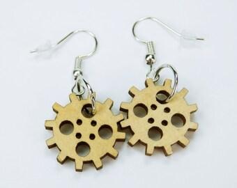 Earrings gears made of wood to Silver earrings earrings jewelry hanging earrings steampunk gear pair of earrings