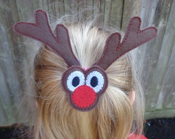 Reindeer Bun Pal / Pony Tail Pal - Hair Accessory - Hair Clip - Barrette - Christmas