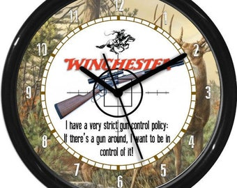 Windchester Rifle  Hunter Gun Shot Sales Shop Dealer Sign Wall Clock Man Cave Rec Room NRA Ducks Unlimited