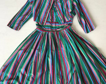 Rainbow Striped 1950s dress and cropped jacket S/M