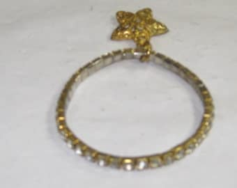 H-10 Vintage Bracelet gold tone white jewels size 6 streach band