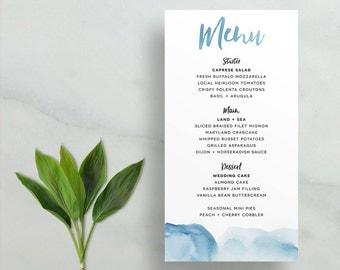 watercolor ombre wedding menus // brush lettering // aqua blue periwinkle navy sand pink red watercolor // printable digital // custom menu