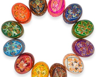 "2.5"" Set of 12 Colorful Ukrainian Pysanky Wooden Easter Eggs- SKU # gs-126"