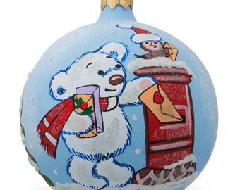 """3.25"""" Bear Mailing Christmas List Glass Ball Christmas Ornament- SKU # K-429-80"""