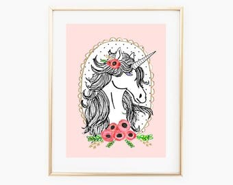 PREORDER   Unicorn Art Print   Unicorn Prints   Unicorn Home Decor   Room Decor   Art For Girl's Room   Unicorn Wall Art