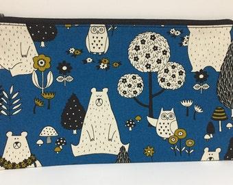 Zipper Pouch, Pencil Case, Teacher Gift, Teen gift, Animal pencil case, New Mum Gift, Nappy Bag, Organiser, Cosmetic bag, Uni student gift