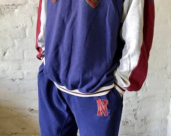 Nike Vintage Full Track-suit / Warm-up / Jogging Suit / Sweatshirt / Sweatpants / Purple / Maroon / Large / 90's / Grey Tag