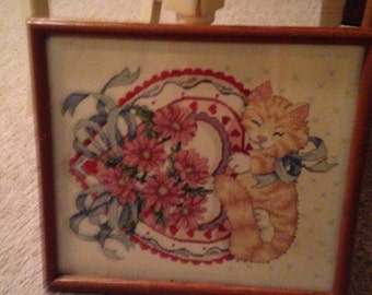 Darling vintage 12 x 14 framed kitty cross stitch picture