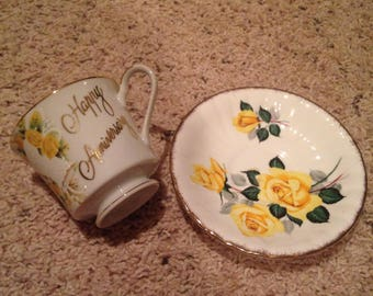 Vintage happy anniversary cup and saucer